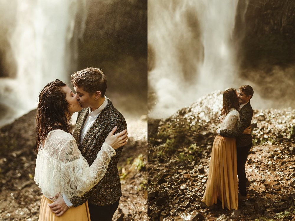 A beautiful same-sex couple eloped underneath one of the waterfalls in the Columbia Gorge in Oregon.