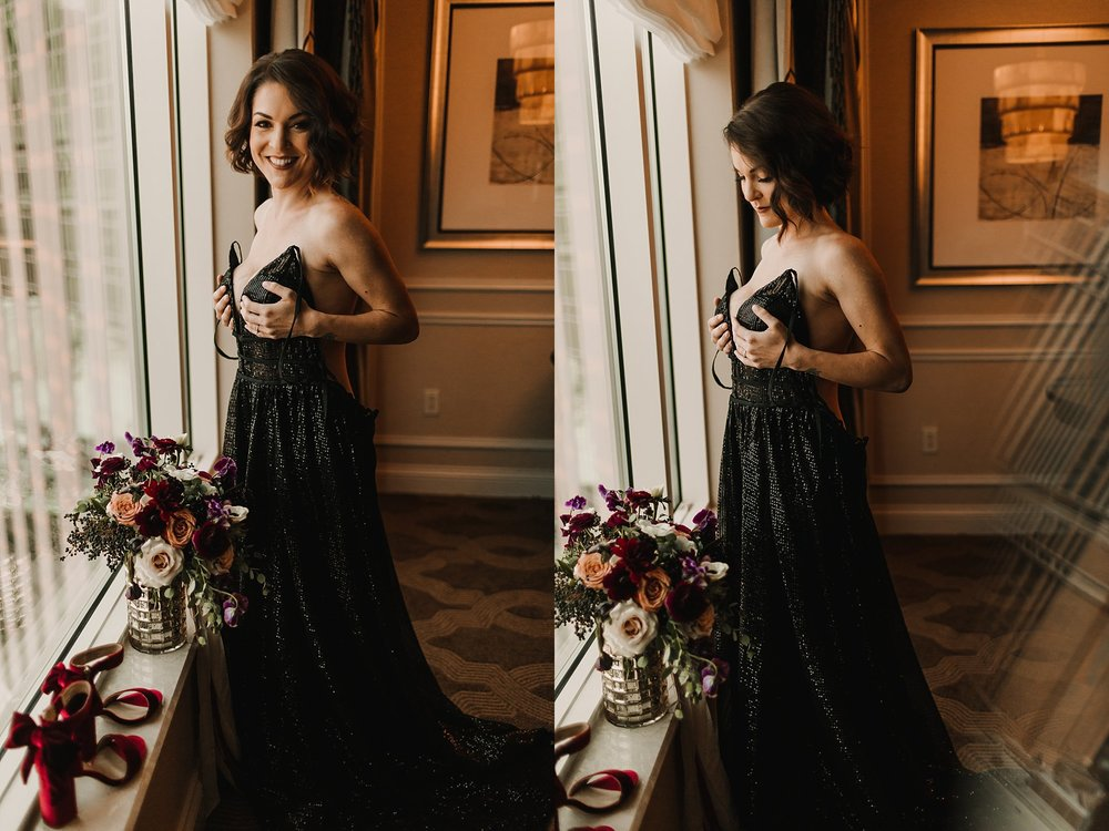 Untraditional bride with a black wedding dress at The Venetian in Las Vegas