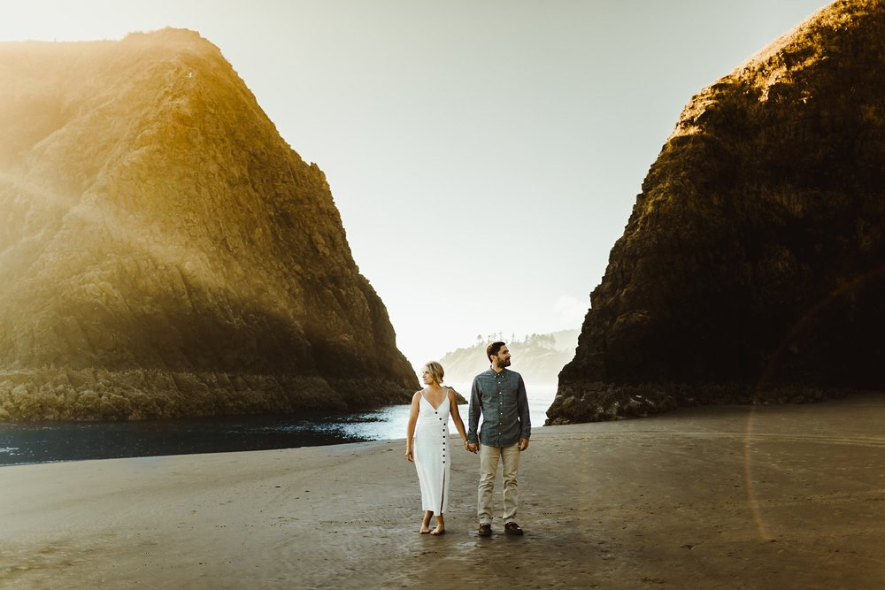 Summertime Cannon Beach engagement photos