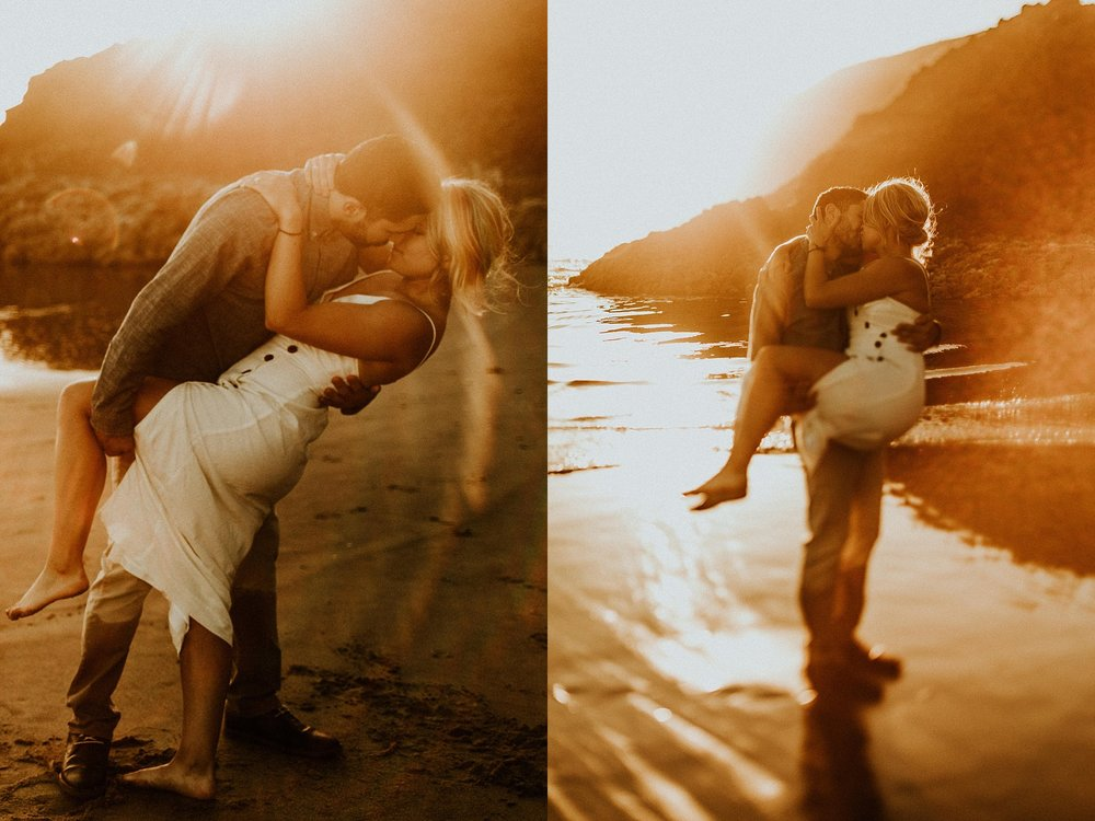 dramatic and moody engagement photos at Cannon Beach