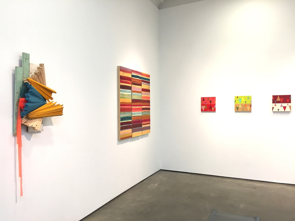Justin Rabideau,  Tucked away,  wood with the lovely Joanne Mattera,  (Left) Bask (Uttar 291) and (right) Chromatic Geometry  series