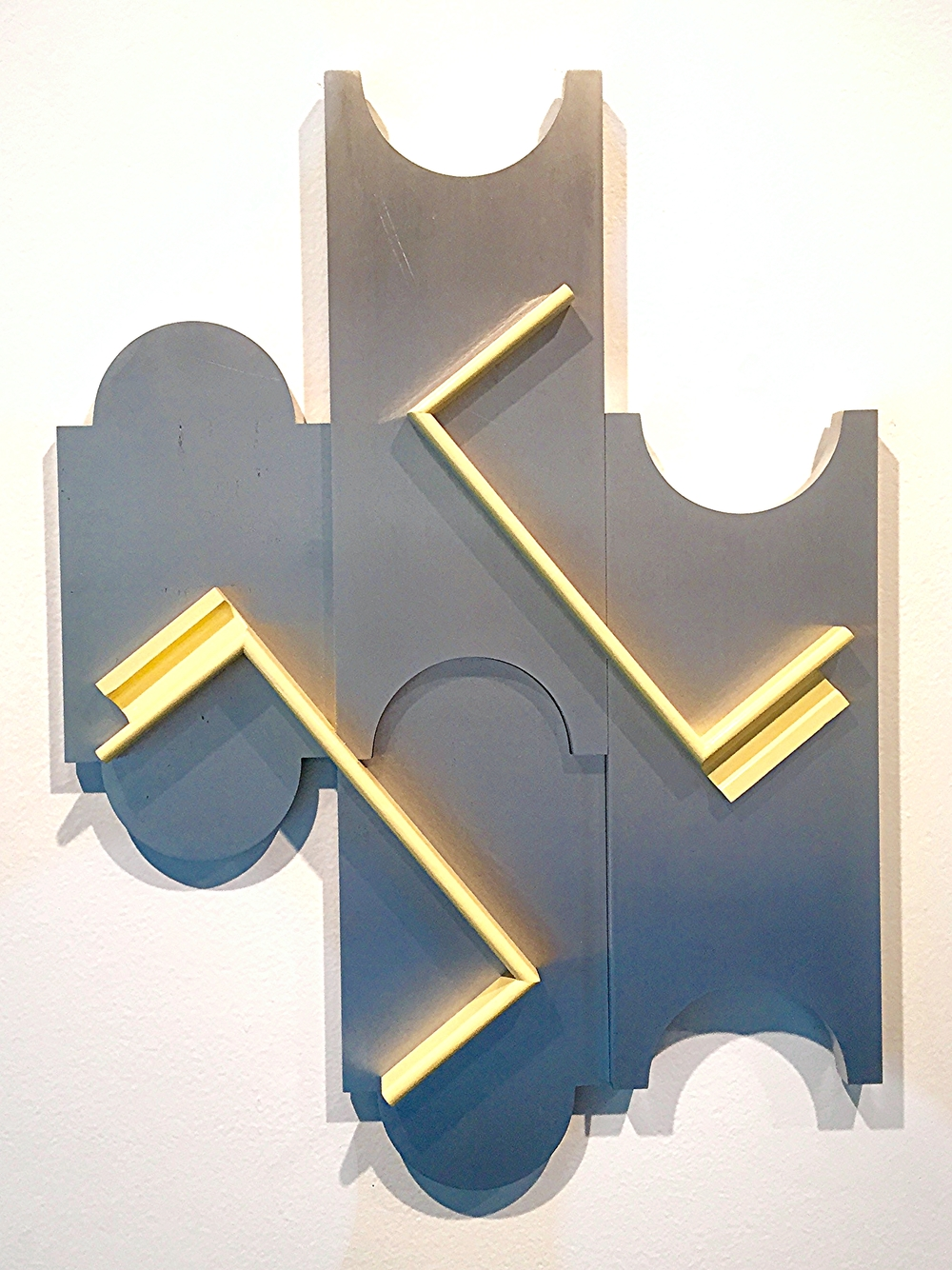 Richard Rezac,  Untitled (09-08)  Painted wood and Aluminum 25 x 18 x 2.5 inches