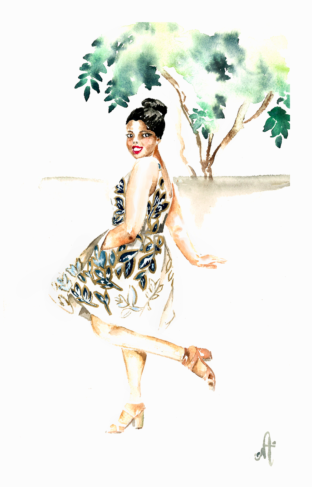 Jcrew Linen Zip Front Dress Gold Foil Leaf Jcrew Buckle Mid Heel Jcrew Factory Chain Link Bracelet Stilla all day Liquid Lipstick That Hayet Rida Plus SIze Blogger Fashion Illustration Nelly Aba Mensah.png