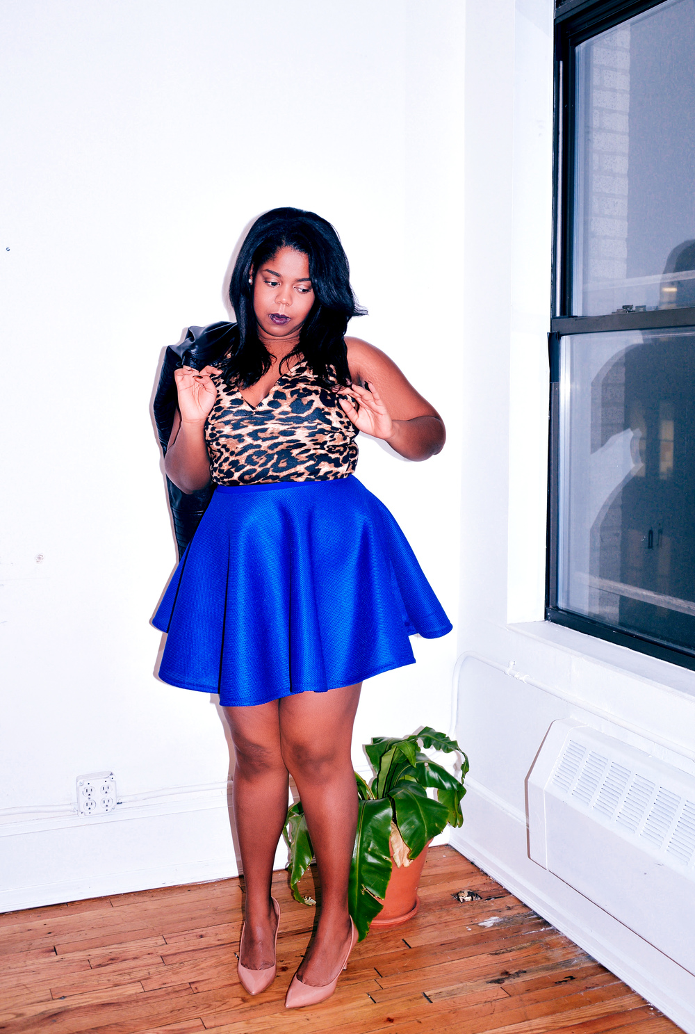 That Hayet Rida Sexy Plus Size Model Blogger Chicago Ghana Rue107 Wrap Skirt Fringe Scuba Leopard Print 8.jpg