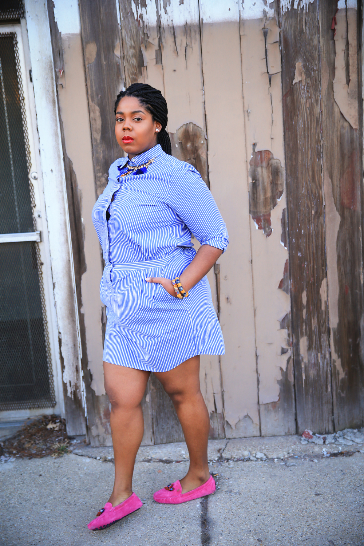 That Hayet Rida Plus Size Blogger Chicago Banana Republic Striped Cotton Shirtdress 13.jpg