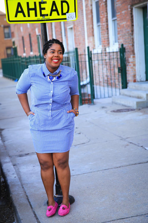 That Hayet Rida Plus Size Blogger Chicago Banana Republic Striped Cotton Shirtdress 10 Kasa Shoes .jpg