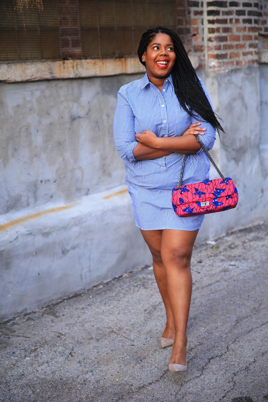 That Hayet Rida Plus Size Blogger Chicago Banana Republic Striped Cotton Shirtdress 2.jpg