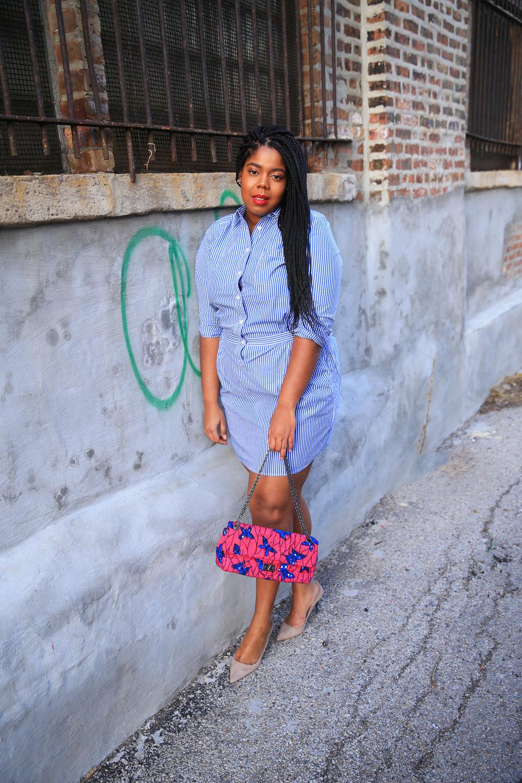 That Hayet Rida Plus Size Blogger Chicago Banana Republic Striped Cotton Shirtdress 6.jpg
