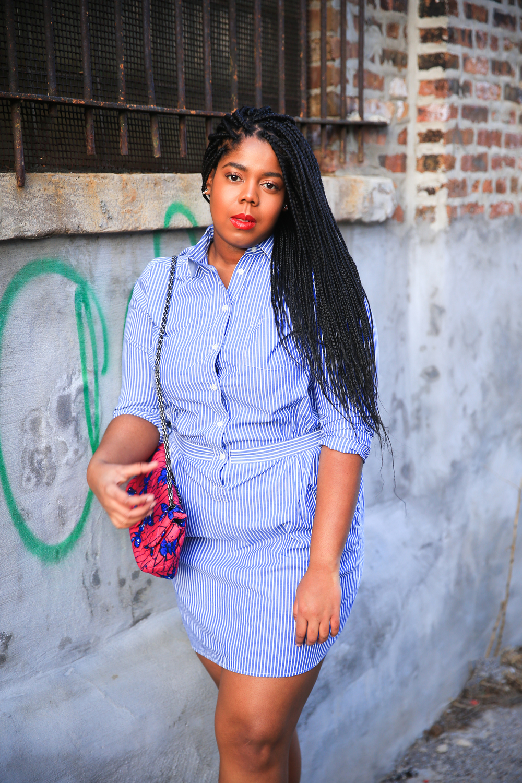 That Hayet Rida Plus Size Blogger Chicago Banana Republic Striped Cotton Shirtdress 9.jpg