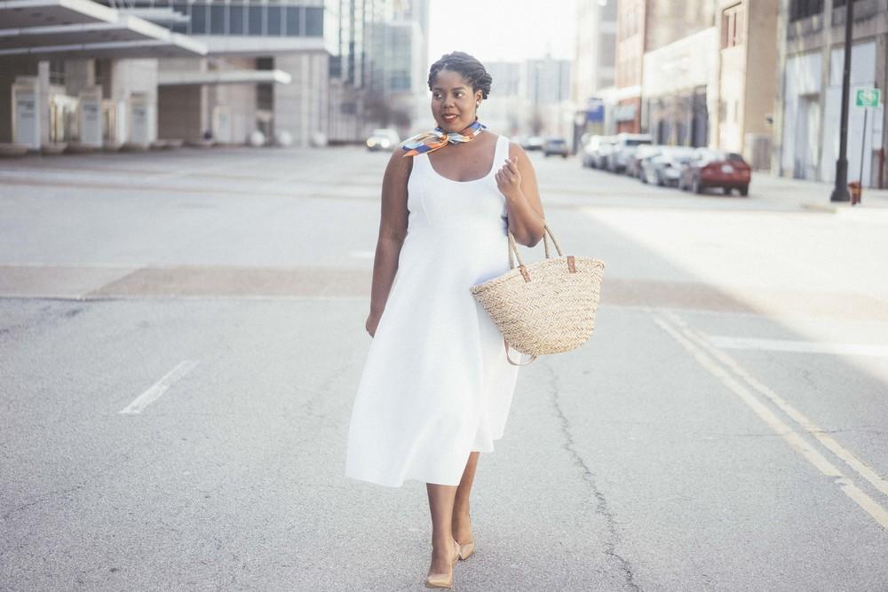 That Hayet Rida Plus Size Fix Scuba White Dress Sam Edelman Slingback Asos Duster Coat 1.jpg