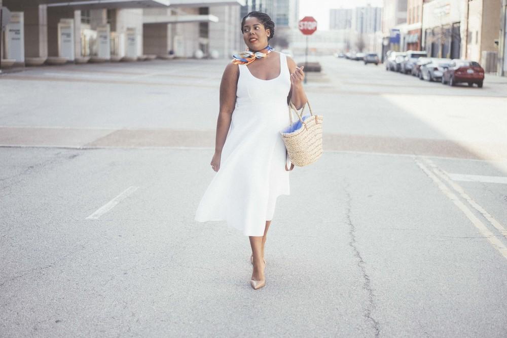 That Hayet Rida Plus Size Fix Scuba White Dress Sam Edelman Slingback Asos Duster Coat 2.jpg