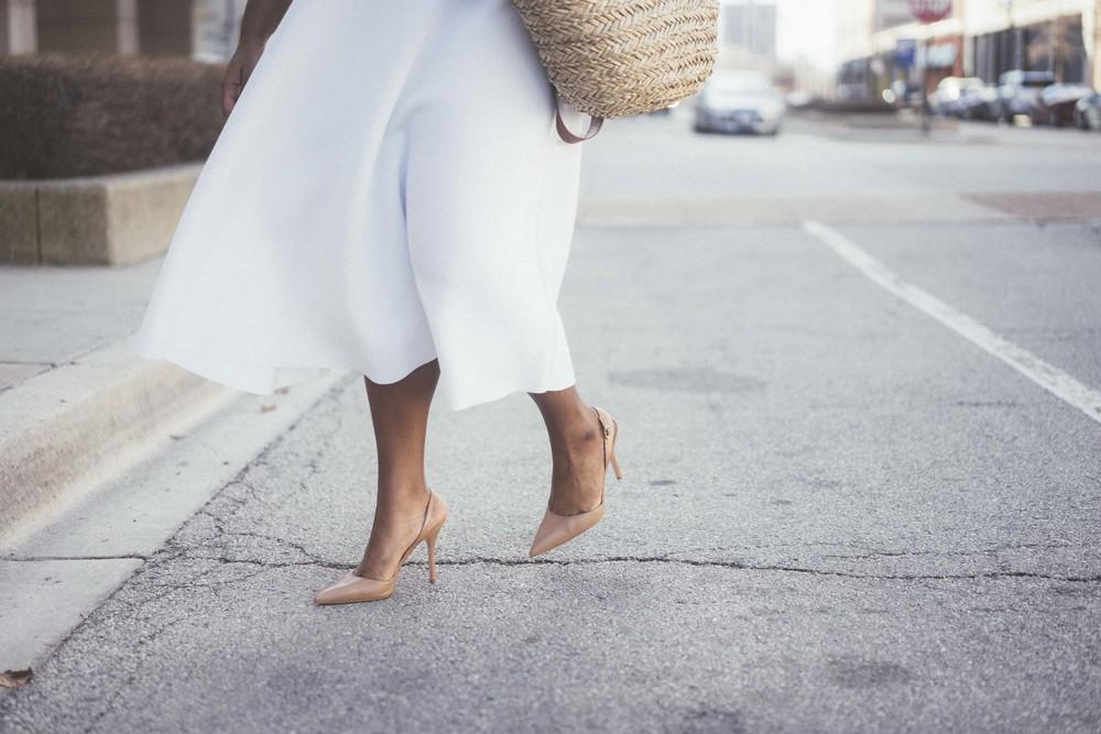 That Hayet Rida Plus Size Fix Scuba White Dress Sam Edelman Slingback Asos Duster Coat 3.jpg