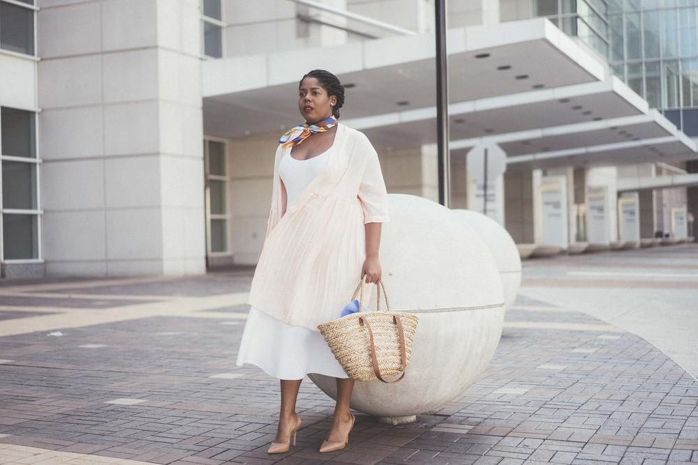 That Hayet Rida Plus Size Fix Scuba White Dress Sam Edelman Slingback Asos Duster Coat 8.jpg