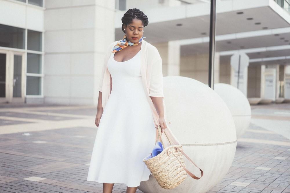 That Hayet Rida Plus Size Fix Scuba White Dress Sam Edelman Slingback Asos Duster Coat 9.jpg