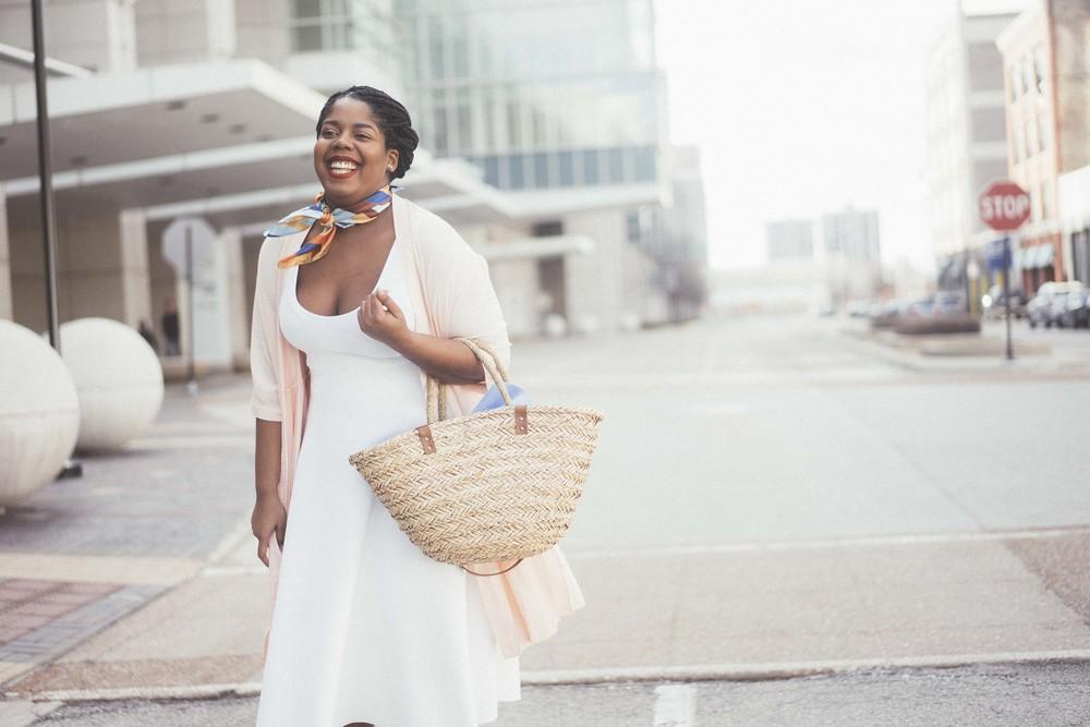 That Hayet Rida Plus Size Fix Scuba White Dress Sam Edelman Slingback Asos Duster Coat 10.jpeg