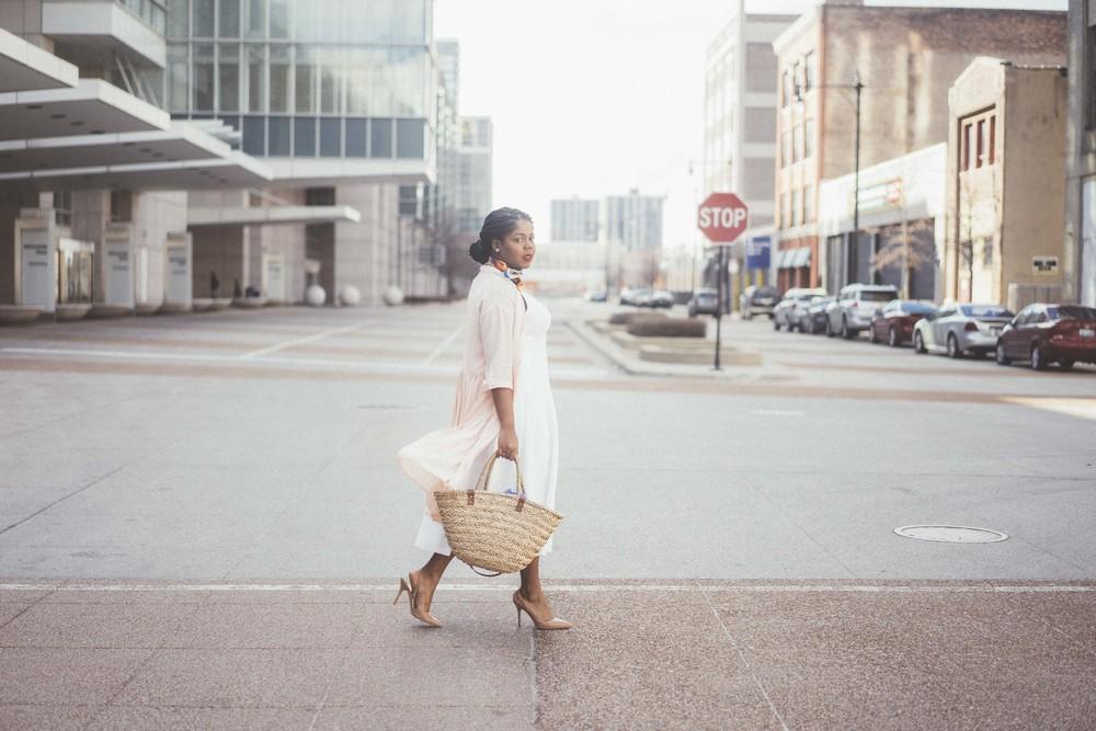 That Hayet Rida Plus Size Fix Scuba White Dress Sam Edelman Slingback Asos Duster Coat 14.jpg