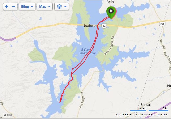 Rowing to the Jordan Lake Dam and back - 22.5 K