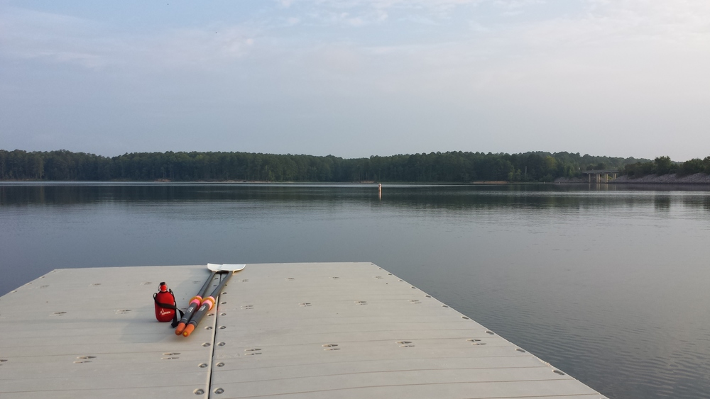 Early morning Jordan Lake rowing on July 23rd - no other boat - just endless flat water