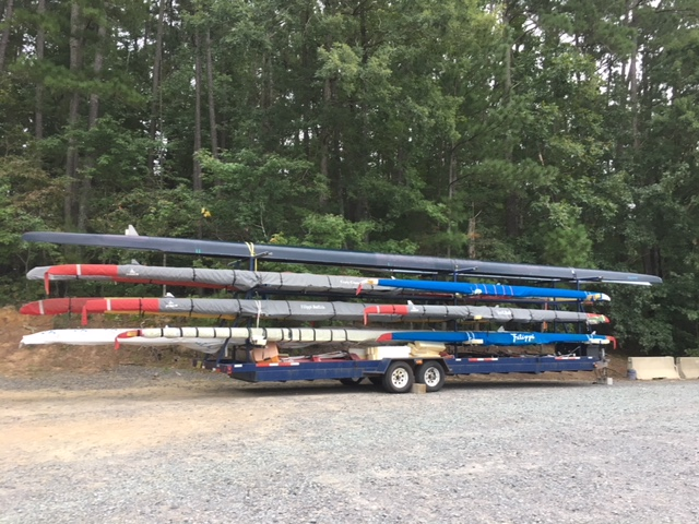 For a club that started with 4 boats 4 years ago, we have grown to quite some size … Total of 16 boats (all but 2) on the trailer, all oars, riggers, slings, and everything else