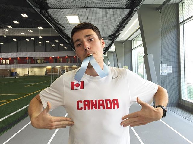 We had @trinitywestern Spartan @caleb_dejong hang out with our future Olympians for our track & field day!  #olympicweek #goCanadago #howtosummer2016