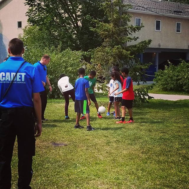 Today the Winnipeg Police Cadets came by and played soccer with the kids!  #communityengaement #livinglife #wpg #dropzone