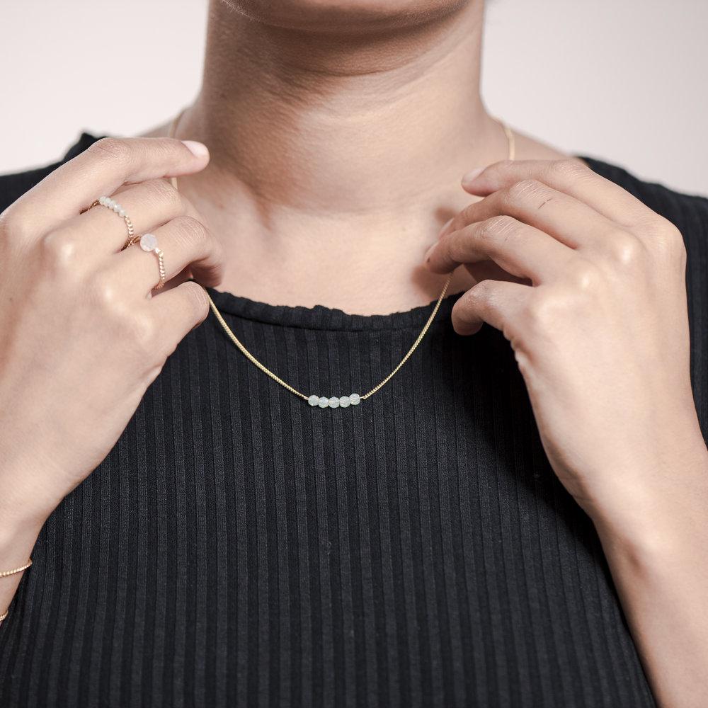 NANA Bijoux Halskette Vergoldet Gold Glasperle Mint 5_3.JPG