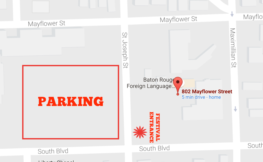 We have received permission to park in the Department of Corrections parking lot on St. Joseph St between South Blvd and Mayflower St. DO NOT PARKin the grassy field on Maximillian St and South Blvd. The lady will have your vehicle towed.
