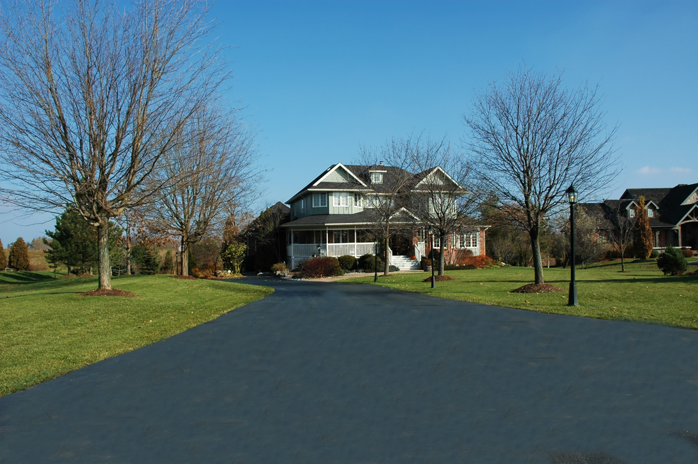 long paved country driveway