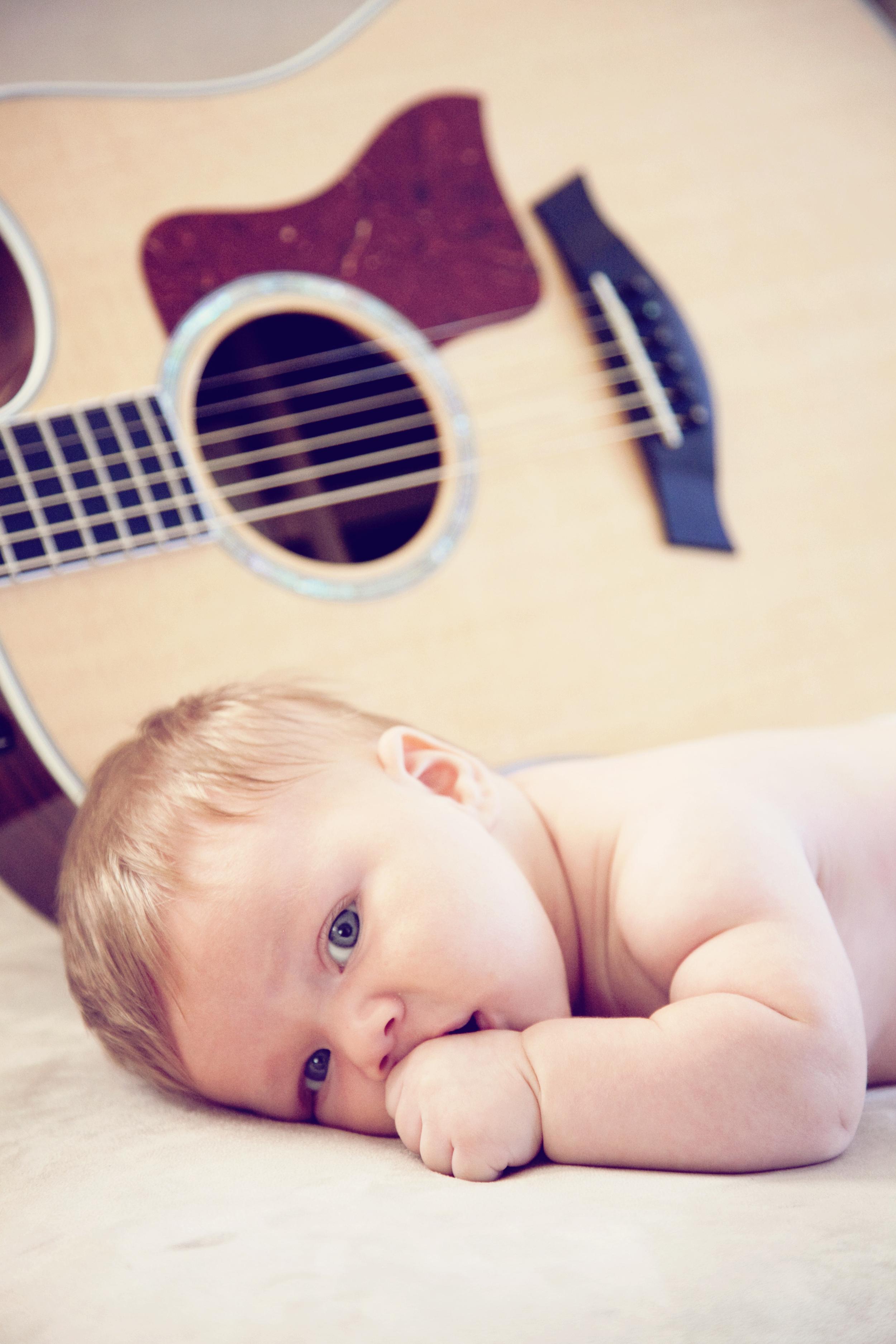 Baby Noah and guitar