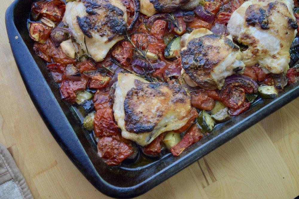 chicken sheet pan dinner summer veggies