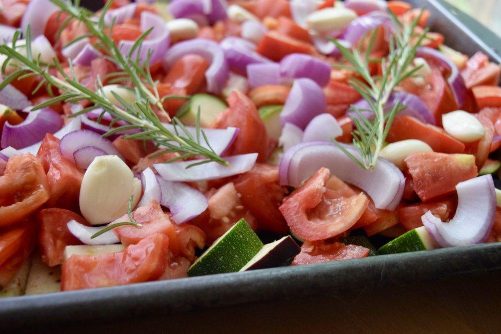 tomatoes tomato zucchini eggplant garlic rosemary ratatouille sheet pan dinner