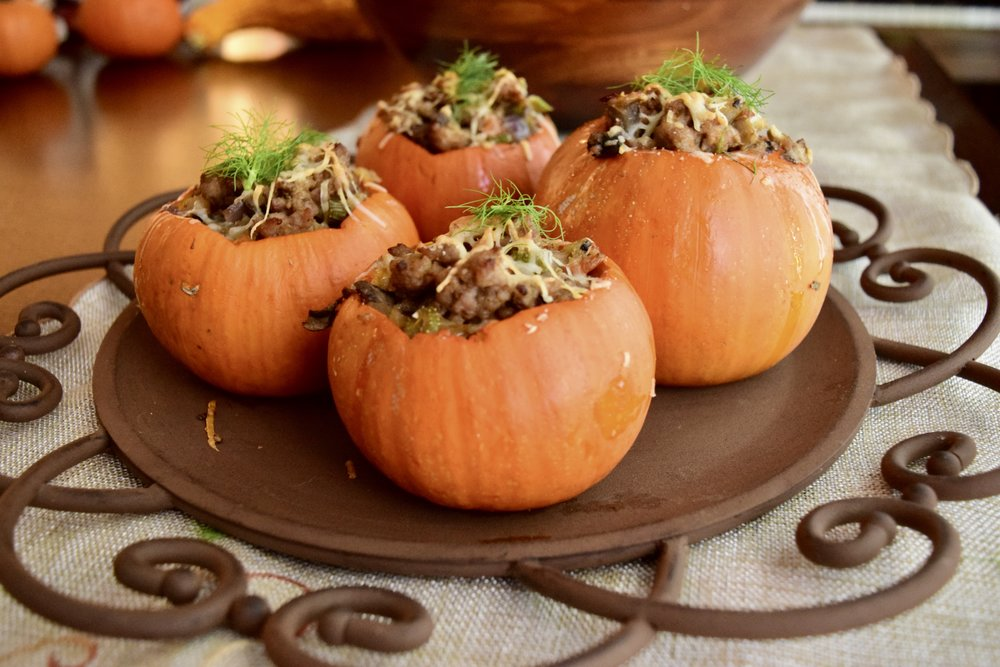 stuffed pumpkin, fall, dinner party, paleo, primal,