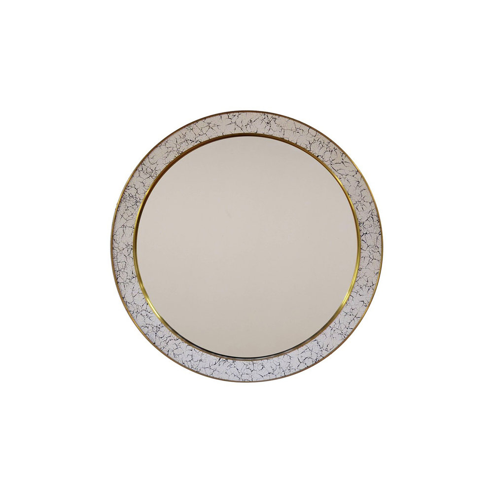 """L'oeuf Mirror 41"""" Round   Hand-finished coquille d'oeuf frame with brass detailing."""