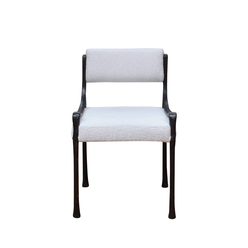 """Giac Side Chair   21 1/8""""W x 21 1/8""""D x 32""""H, 19""""SH, 21""""AH. Available in Black with white boucle as shown. 10x Available. Can be bought as a set or individually."""