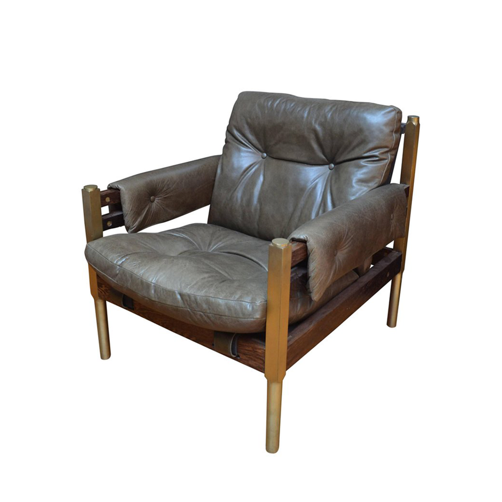 """Campanha Club Chair   27.75""""W x 33""""D x 32.5""""H. Custom sizes available. Available in Alga green leather with wenge and brass frame as shown."""