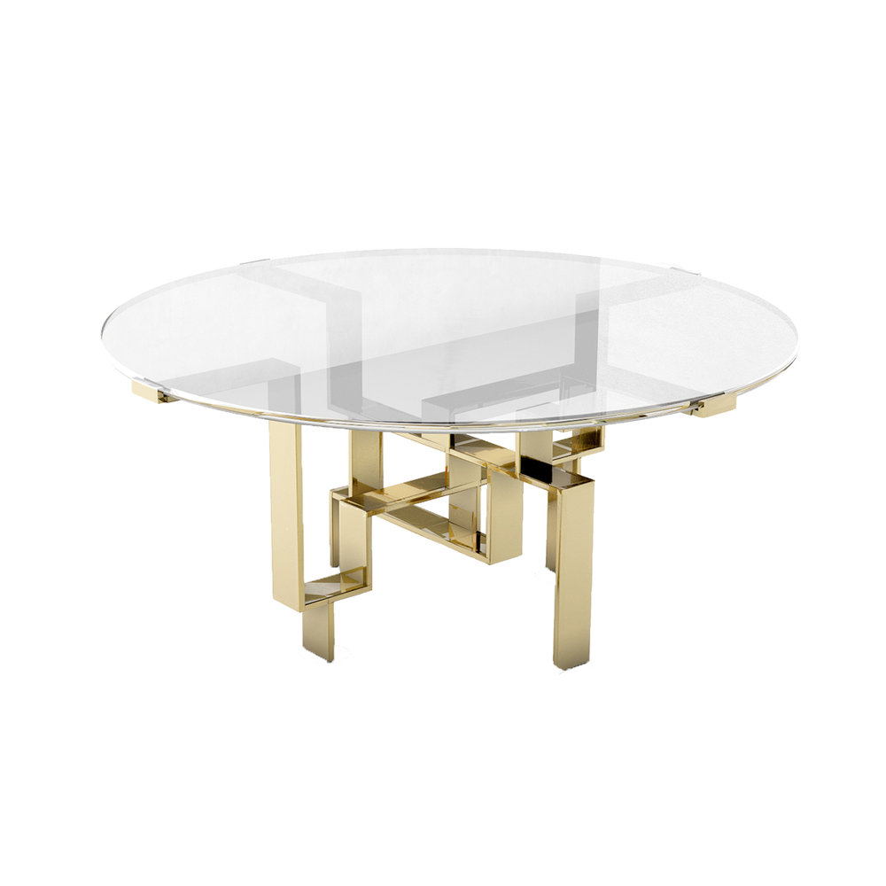 """Metropolis Round Table   Glass topped dining table with solid brass geometric base. 60""""diameter x 29.5"""""""