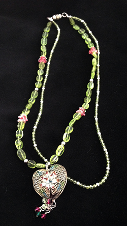 Emmy's Medleys -  Heart Strings; peridot, handmade rose glass beads, antique cloisonne heart from China, sterling silver clasp.