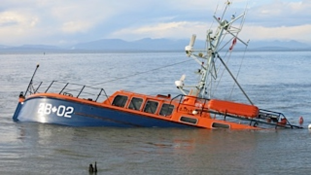 "The ""Steveston Lifeboat"" after her accident in December 2014"