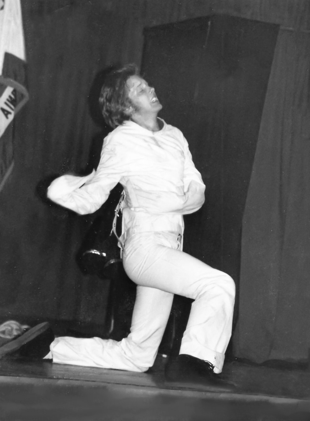 Michael Griffin - America's Escape Hero is shown escaping from the JT Posey straitjacket ca.1979 the year he became the first ever to successfully escape from it.