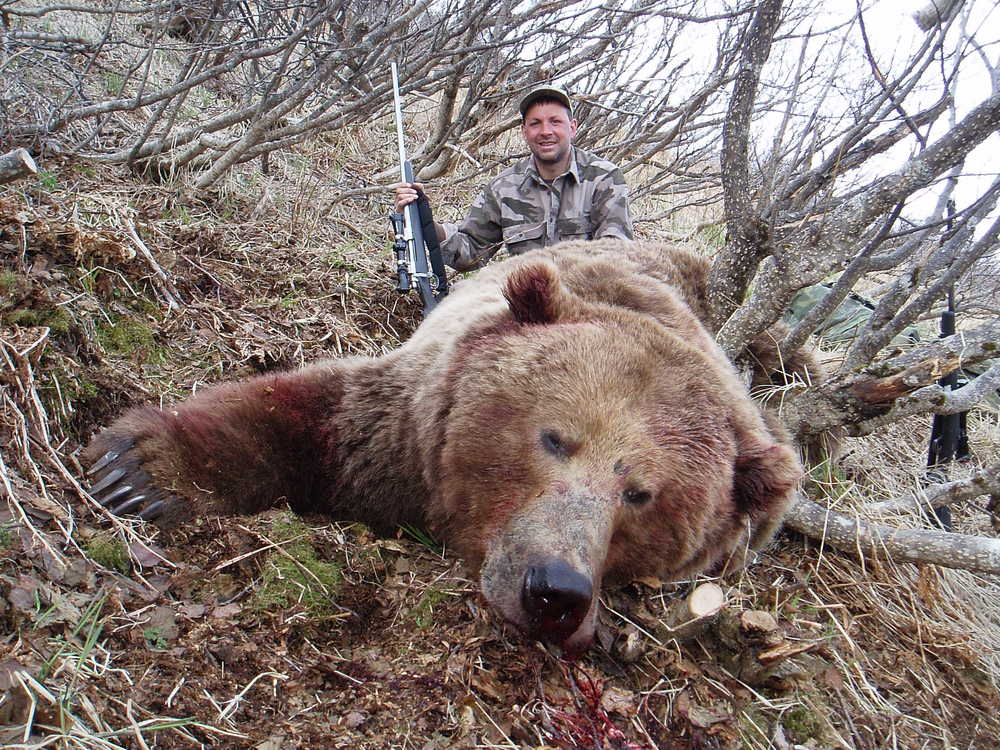 "My son-in-law, Sagen Juliussen, with his 10'1"" brown bear."
