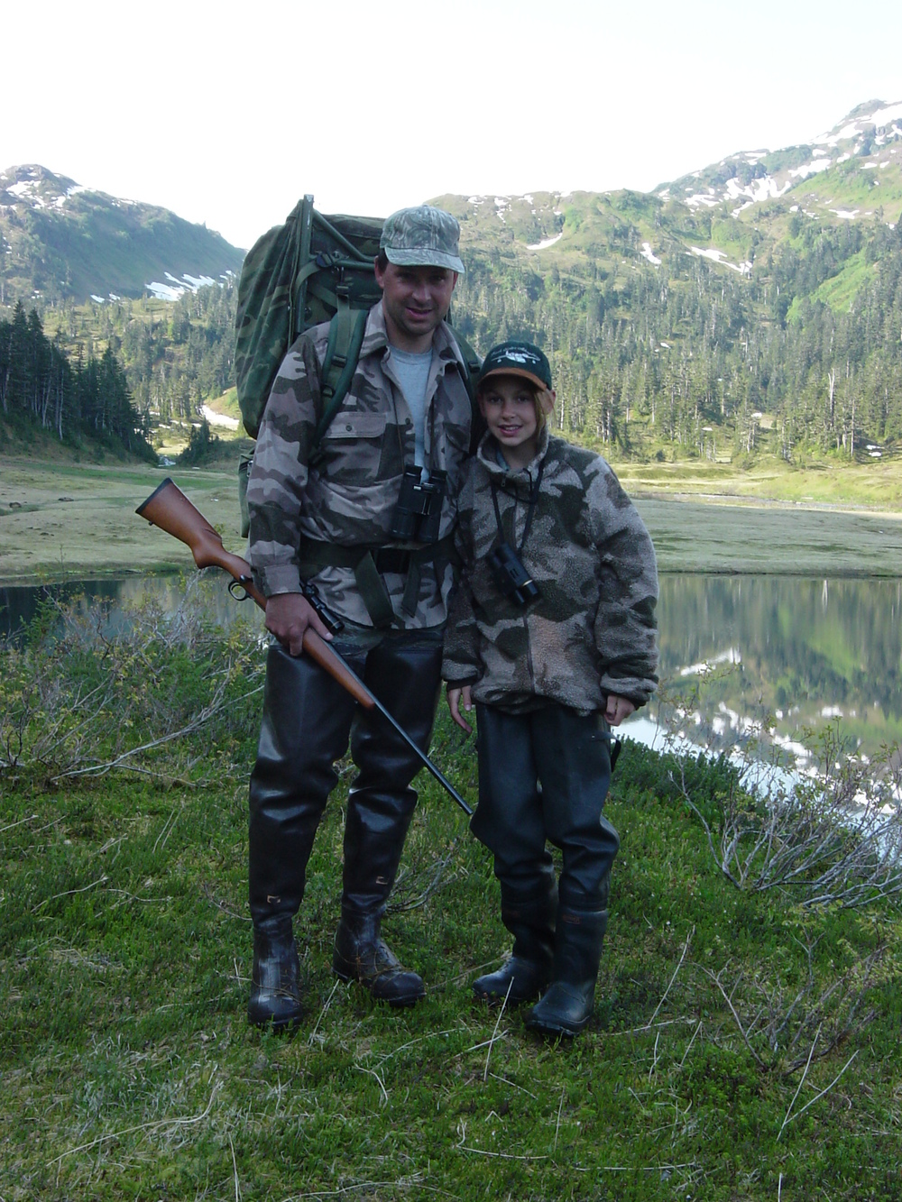 Jordan and her dad Sagen about 30 minutes before she shot her bear.  The bear was shot in the field behind Jordan.