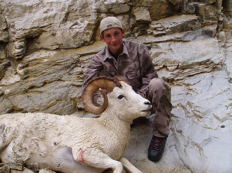 Jared with his beautiful full curl Dall ram.