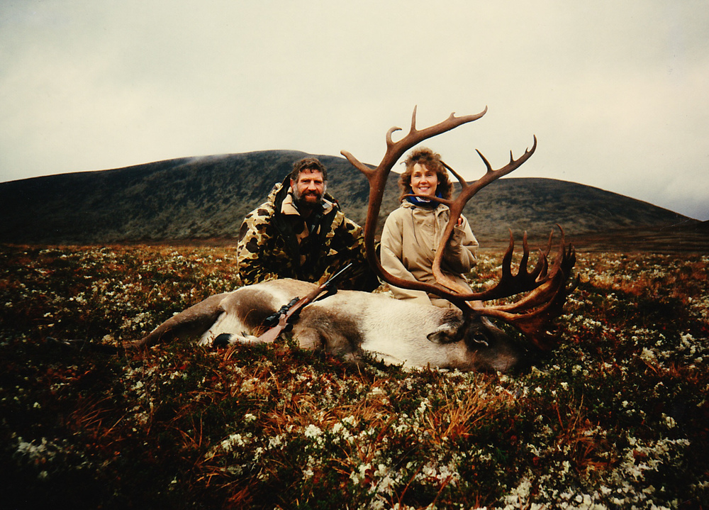 Karen and me with her caribou.  Look how massive the shovels are.
