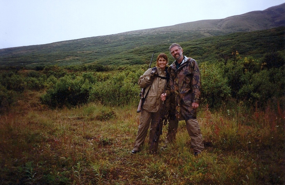 Two wet, tired and happy hunters. Getting ready for our anniversary dinner.