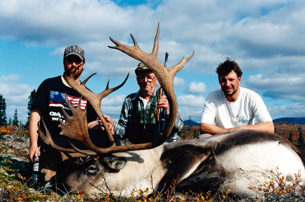 (L to R) Guide Thor Juliussen, client Jack Dunn from Eugene, OR and guide Sagen Juliussen.  My youngest guides with my oldest client that year.  He was 77 years old.