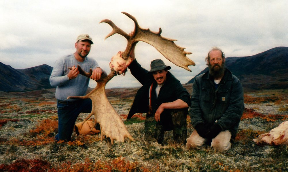 (L to R) Tom, Jeremiah and Chris doing a photo shoot after packing out a moose.