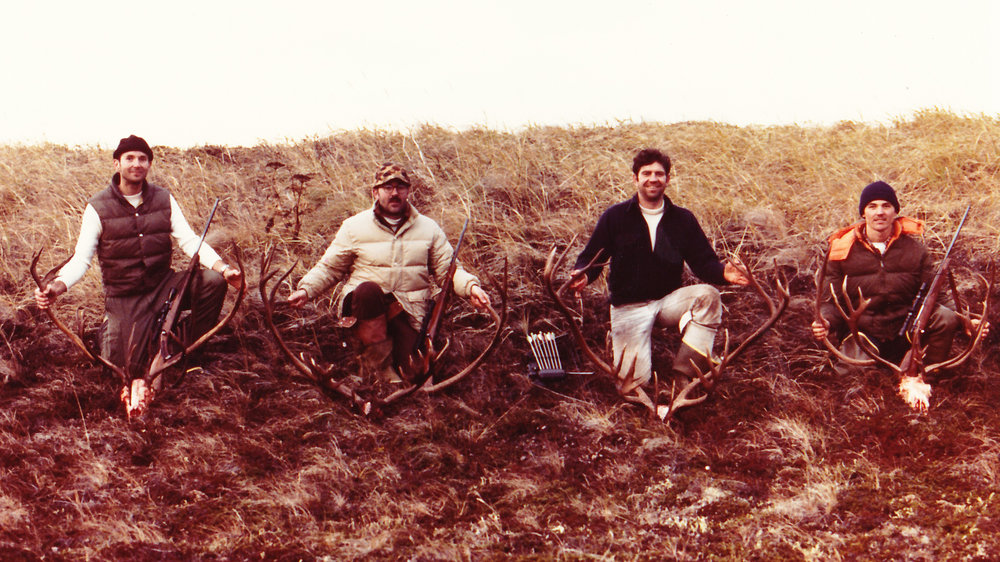 "(L to R) Mike Herbert, Earl Boucher, myself and Scottie Bailey at ""the dunes"". The Giardia hunt."