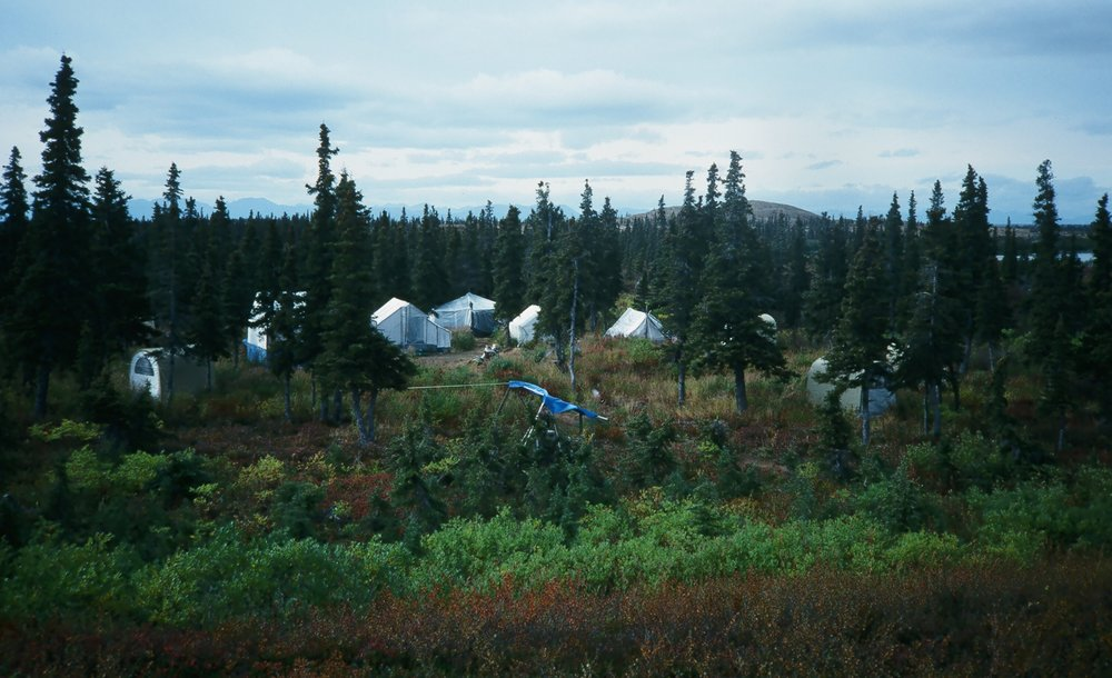 AAA's Western Alaska base camp at Otter Lake. Cabins are prohibited in this area. Our Wrangell Mountain Area and the Alaska Peninsula Area both have cabins at the base camps.