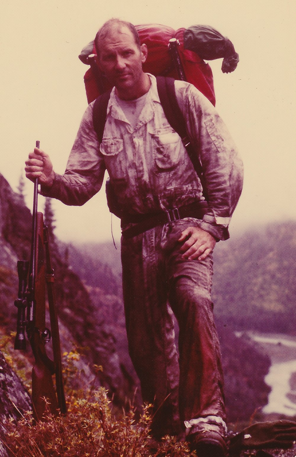 My commander, Lt. Col. Lyle Thompson, on his first sheep hunt looking tired, wet and beat up.