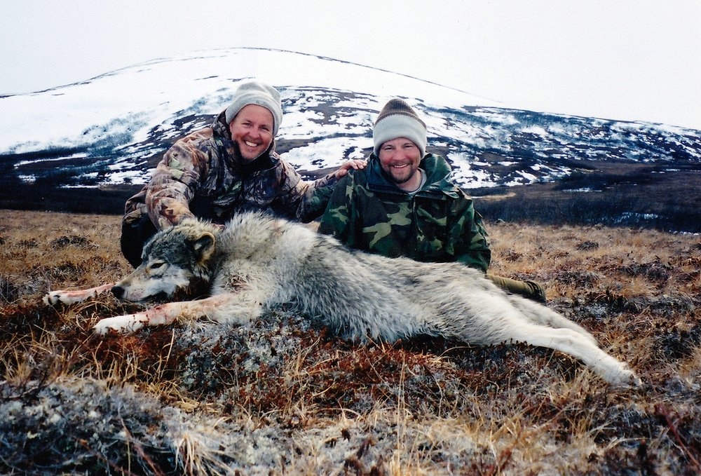 (L to R) Bruce Haugen, Williston, ND, and guide Shawn Stone.  This is the only wolf taken by AAA on a spring hunt in this area.